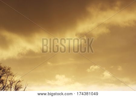 snow cloud painted in gold color of the setting of the spring sun.