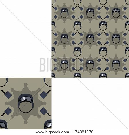 Seamless patterns of special forces helmets and radio with pattern unit.