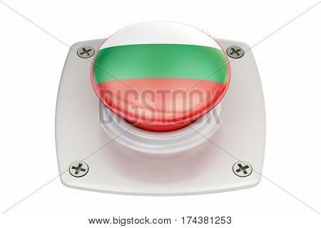 Bulgaria flag push button 3D rendering isolated on white background