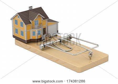 House In Mousetrap 3D rendering isolated on white background