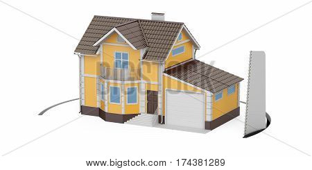 House with cutting saw 3D rendering isolated on white background