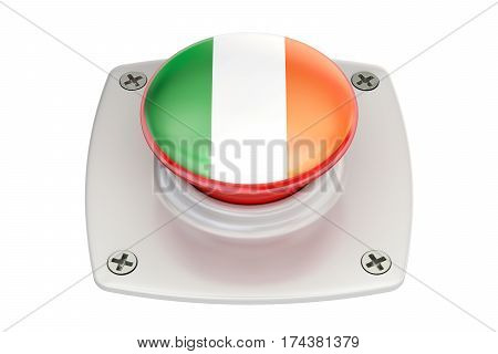 Ireland flag push button 3D rendering isolated on white background