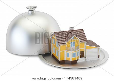 Restaurant cloche with house 3D rendering isolated on white background
