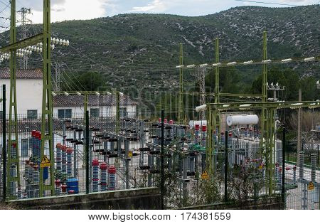 Power electrical substation yard near Barcelona, in park Garraf, Spain