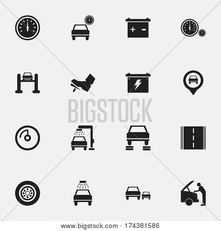 Set Of 16 Editable Transport Icons. Includes Symbols Such As Auto Repair, Vehicle Wash, Accumulator And More. Can Be Used For Web, Mobile, UI And Infographic Design.