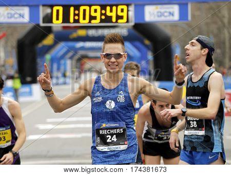 BARCELONA, SPAIN - FEB, 12: German athlete Nicolai Riechers celebrates his position after the Barcelona Half Marathon in Barcelona on February 12, 2017 in Barcelona Spain