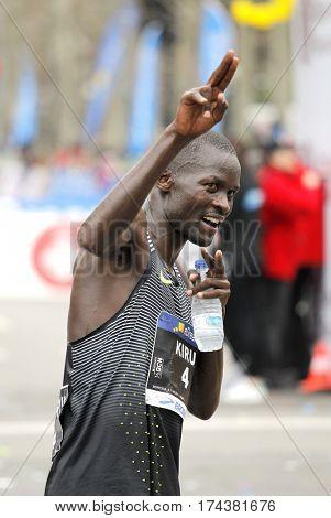 BARCELONA, SPAIN - FEB, 12: Kenyan athlete Abel Kirui celebrate his position after the Barcelona Half Marathon in Barcelona on February 12, 2017 in Barcelona Spain