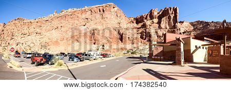 Nature National Park, Utah. The Landscape And Rocks. Roads And Propinki Park, Utah