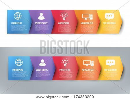 Timeline infographics with 5 arrows steps of years or milestone colored vector template layout for presentation