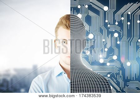 Abstract half man half grid creature on abstract tech city background. Modern robotics concept