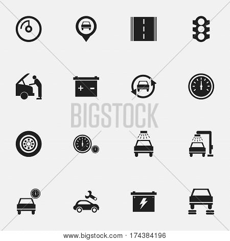 Set Of 16 Editable Vehicle Icons. Includes Symbols Such As Stoplight, Battery, Tuning Auto And More. Can Be Used For Web, Mobile, UI And Infographic Design.
