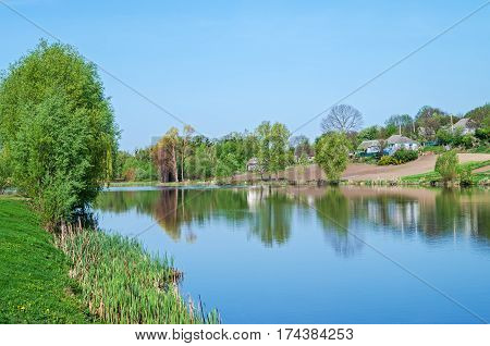 View of the pond in clean countryside midday in the middle of spring