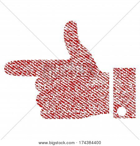 Hand Pointer Left vector textured icon for overlay watermark stamps. Red fabric vectorized texture. Symbol with scratched design. Red ink rubber seal stamp with fiber textile structure.