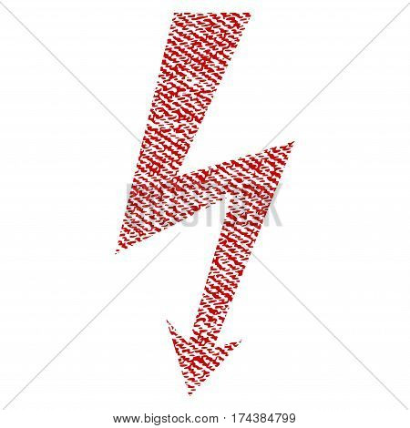 High Voltage vector textured icon for overlay watermark stamps. Red fabric vectorized texture. Symbol with unclean design. Red ink rubber seal stamp with fiber textile structure.
