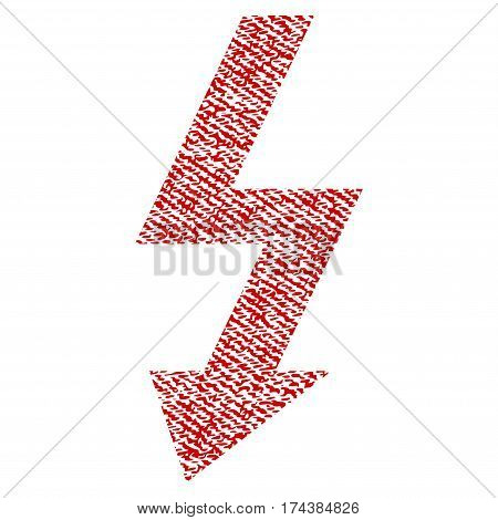 High Voltage vector textured icon for overlay watermark stamps. Red fabric vectorized texture. Symbol with dirty design. Red ink rubber seal stamp with fiber textile structure.
