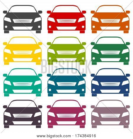 Car icons set on white background, vector icon