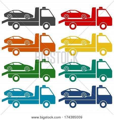 Car towing truck icons set on white background