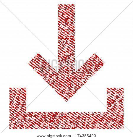 Inbox vector textured icon for overlay watermark stamps. Red fabric vectorized texture. Symbol with dust design. Red ink rubber seal stamp with fiber textile structure.