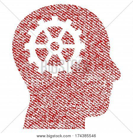 Intellect vector textured icon for overlay watermark stamps. Red fabric vectorized texture. Symbol with unclean design. Red ink rubber seal stamp with fiber textile structure.
