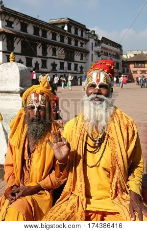 KATHMANDU, NEPAL. 23 September 2008: Closeup portrait of monks - sadhus in the square in Kathmandu. Patan, Durbar Square, Nepal