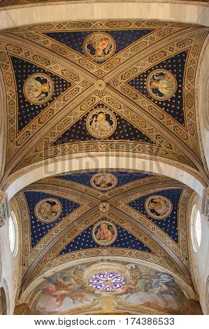 Italy Lucca - September 18 2016: the view of the ceiling on the interior of Lucca Cathedral. Cattedrale di San Martino on September 18 2016 in Lucca Tuscany Italy.