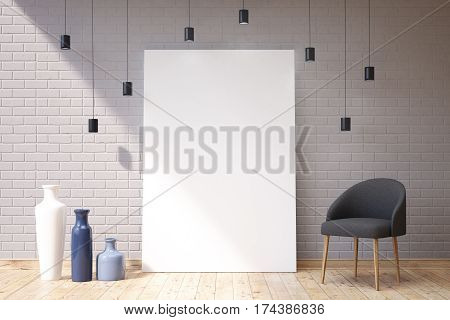 Three Vases, An Armchair And A Vertical Poster