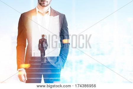 Double exposure of a businessman climbing the stairs inside a bearded man standing in a blue office. 3d rendering double exposure mock up toned image