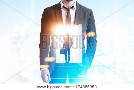 Double Exposure Of Businessman In Man, Suitcase