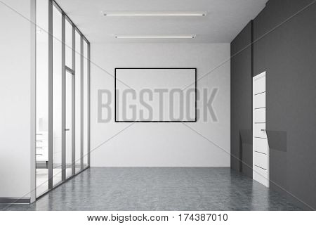 Front view of an office interior with glass white and gray concrete walls and a framed horizontal poster hanging on one of them. Mock up 3D rendering