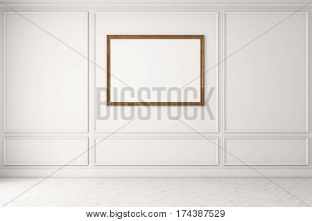 Horizontal Poster In Empty White Room, White Floor