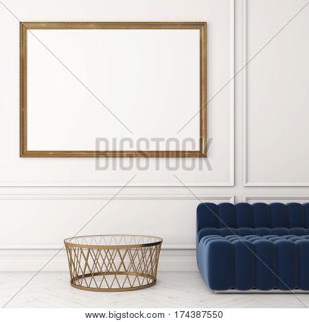Close Up Of Horizontal Poster, Sofa, White Wall