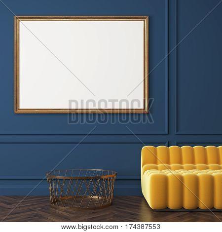 Close Up Of Horizontal Poster, Sofa, Blue Wall