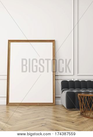 Close Up Of Vertical Poster, Gray Sofa, White Wall