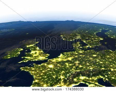 Western Europe At Night On Planet Earth