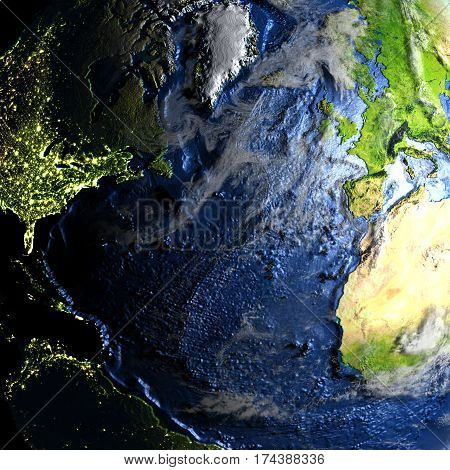 Northern Hemisphere On Earth - Visible Ocean Floor