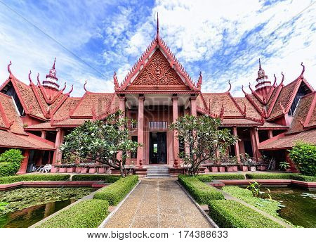 Phnom Penh, Cambodia - December 31, 2016: View of the National Museum of Cambodia from the courtyard. This is Cambodia's largest museum and houses one of the world's largest collections of Khmer art