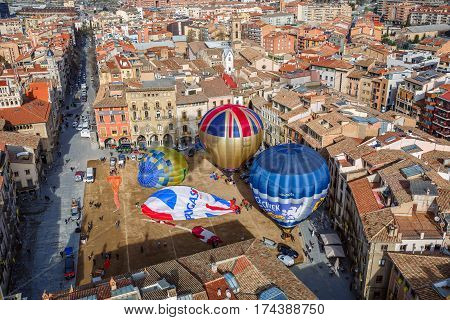 VIC/ SPAIN - MARCH 27, 2015. The hot air balloons are ready to fly on the main square of the historic Spanish city of Vic. Spain, province Barcelona