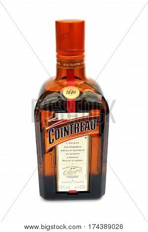Camberley, Uk - March 1St 2017: A Bottle Of Cointreau Orange Liqueur, A Popular After Dinner Alcohol