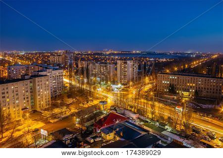 Night view from the roof of Voronezh. Crossroads of two streets, Dimitrova street and Leningradskaya street
