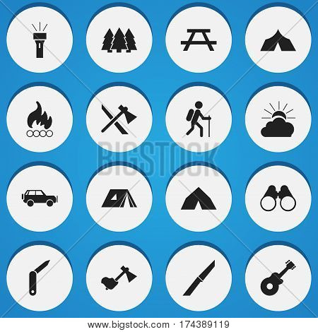 Set Of 16 Editable Trip Icons. Includes Symbols Such As Blaze, Desk, Clasp-Knife And More. Can Be Used For Web, Mobile, UI And Infographic Design.