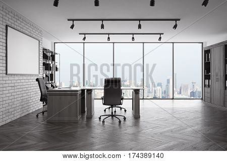 Blank picture frame in loft office with city view modern furniture and concrete wall and floor front view. Mock up 3D rendering