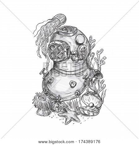 Tattoo style illustration of a copper and brass old school deep sea dive diving helmet or Standard diving helmet (Copper hat) worn mainly by professional divers engaged in surface supplied diving set on isolated white background.