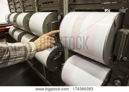 Seismograph Recording Earthquake Human Hand