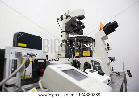 Modern Microscope Microbiology Laboratory