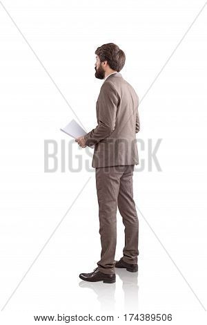 Businessman Holding Notes. Side View, Isolated
