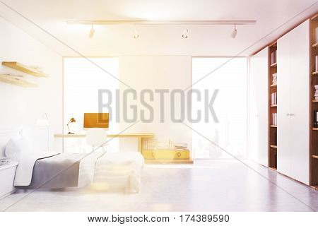 White Walled Bedroom With Study Corner, Toned