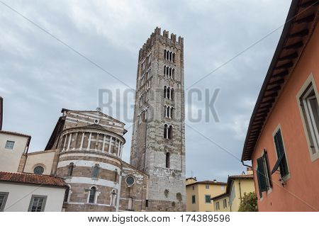 Italy Lucca - September 18 2016: the view of the back of San Frediano church on September 18 2016 in Lucca Tuscany Italy.