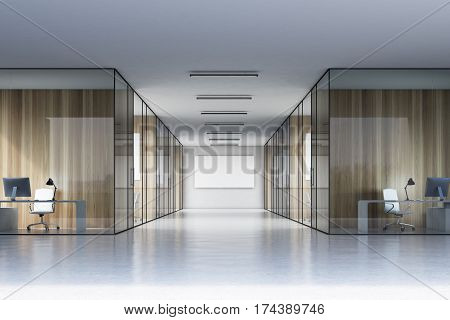 Long Office Corridor With A Poster
