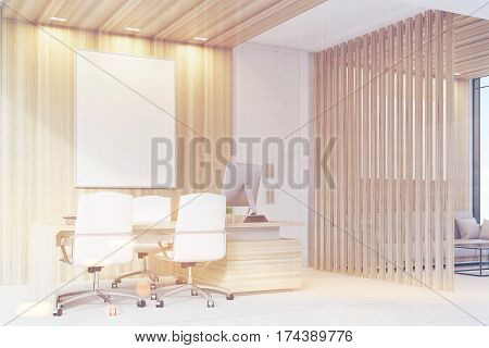 Elegant Ceo Room Interior, Poster, Side, Toned