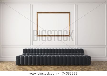Gray Sofa Against White Wall, Poster